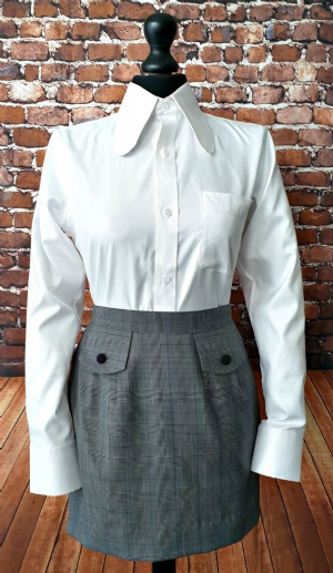 """Sally"" Beagle Collar Shirt with POW Check Skirt"